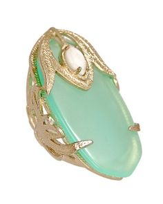Gold leaves surround white mother-of-pearl atop a soft green chalcedony quartz.  So pretty.