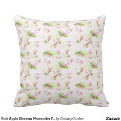Pink Apple Blossom Watercolor Floral White Pillow