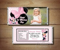 MINNIE MOUSE Printable Candy Bar Wrappers for Minnie Mouse Birthday Partys - Light Pink Minnie Mouse Candy Bar Wrapper