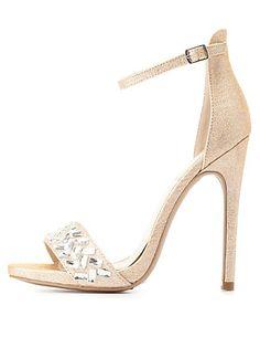 Glitter & Rhinestone Single Strap High Heels #charlotterusse #charlottelook