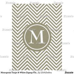 Monogram Taupe & White Zigzag-Fleece Blanket #1