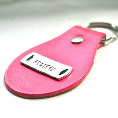 Bright pink leather key fob  Believe  by FatCatLeather on Etsy, $9.00