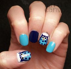 The Little Canvas: Twinsie Tuesday: owl nail art using China Glaze:  Capacity to See Beyond, OPI:  Eurso Euro, and OPI: My Boyfriend Scales Walls.