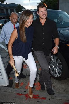 Parents only! Nick and Vanessa Lachey took a break from parenthood to enjoy a date night o...