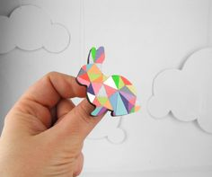 Geometric Rabbit Neon Brooch    Harlequin Bunny by SketchInc, £10.80