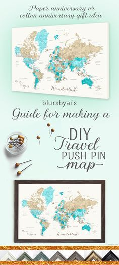 Really nice canvas push pin map. Printables with links and coupon codes