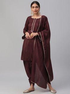 Enchanting Maroon Solid Kurta With Dhoti Pants & Dupatta Online Lehenga Style, Silk Lehenga, Indian Dresses For Girls, Girls Dresses, Patiala Suit, Anarkali Suits, Net Gowns, Gown Suit, Salwar Kameez Online
