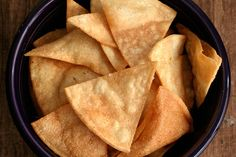 Salty, crunchy corn chips for dunking in salsa or topping with cheese for homemade nachos. Homemade Nachos, Homemade Tortilla Chips, Mexican Food Recipes, Snack Recipes, Snacks, Mexican Cooking, Drink Recipes, Appetizer Recipes, Yummy Recipes