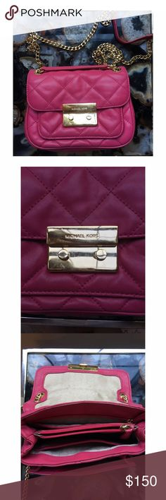 Michael Kors hot pink quilted bag Adjustable shoulder strap to cross body with card slots inside Michael Kors Bags