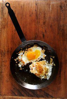 eggs in bread crumbs.