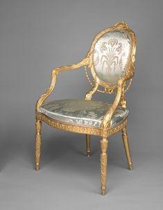 c1779 MAKER English TITLE Armchair DATE c. 1779 MEDIUM Beech; various secondary woods, gilding, and upholstery (not original)