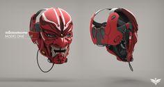 Japanese Mask - Mask HP, Chris Wells on ArtStation Character Concept, Character Art, Character Design, Suit Of Armor, Body Armor, Helmet Design, Mask Design, Armor Concept, Concept Art