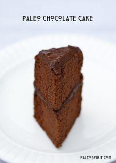 PaleoSpirit:: Slice of Paleo Chocolate Cake recipe. coconut flour, maple syrup, etc. healthy stuff. Also frosting recipe.