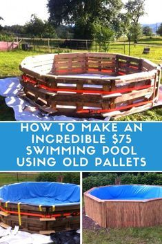 Is That a Pallet Swimming Pool? 24 DIY Pallet Outdoor Furniture Creations and Bi… Pallet Patio, Pallets Garden, Pallet House, Pallet Bench, Wood Pallet Fence, Pallet Barn, Old Pallets, Recycled Pallets, Wooden Pallets
