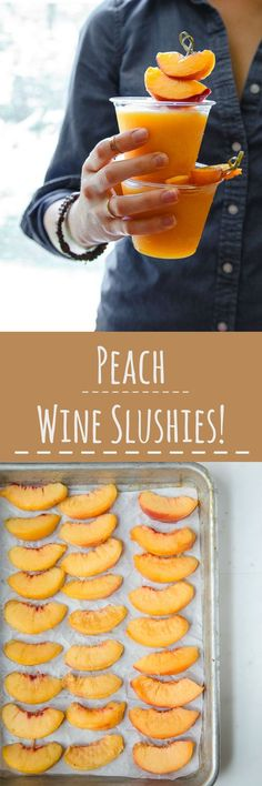 Peach Wine Slushies are made with a bag of frozen peaches and a bottle of white wine! So easy, so customizable! #peach #wine #wineslushy #wineslushies #peachwine #cocktail #frozendrink #summerdrinks via @dessertfortwo