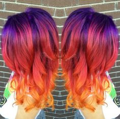 Simone Olivero — 'Sunset hair' is the latest beauty trend to take. Pretty Hair Color, Hair Color Purple, Vivid Hair Color, Pink Purple, Bright Hair Colors, Hair Dye Colors, Colourful Hair, Rainbow Colors, Pink And Orange Hair