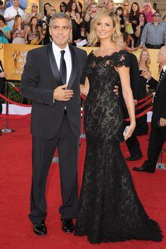 Stacy Keibler SAG Red Carpet Dress Black Floral Lace Trumpet Evening Gown