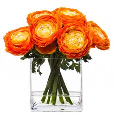 Lux Art Silks Orange Ranunculus Faux Flower Arrangement ($253) ❤ liked on Polyvore featuring home, home decor, floral decor, flowers, plants, decor, filler, artificial flower arrangement, fake flower bouquets and artificial flowers
