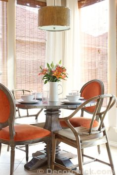 Breakfast Room Updates with New Table and Chairs | www.decorchick.com --- November 2013.  Table:  Cooper Round Dining Table; chairs are:  Paige Round Back Dining Chair and Natural Bowen Wishbone Chair