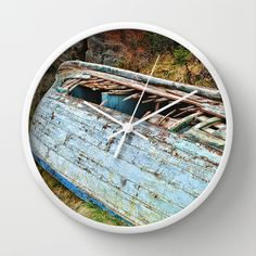 Old Boat in the field Wall Clock by Claude Gariepy - $30.00