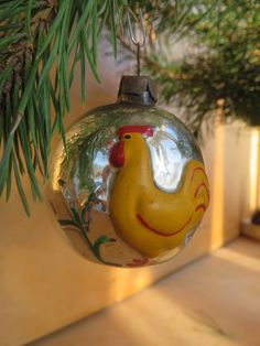 Soviet vintage Christmas glass ball Xmas ornament Glass bulb with yellow cock Christmas bauble Russian Christmas glass decoration USSR 1960s