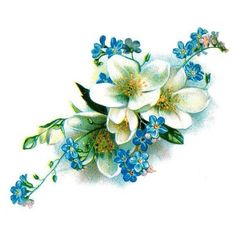 vintage floral blue and white forget-me-not temporary tattoo- large... ❤ liked on Polyvore featuring accessories, body art and flowers