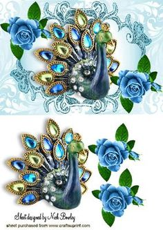 BEAUTIFUL JEWEL PEACOCK WITH PAINTED ROSES on Craftsuprint - Add To Basket!