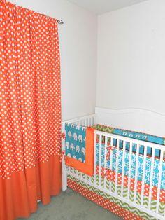 Lime Green Teal and Orange Modern Crib Bedding Set. $329.00, via Etsy.