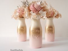 Pink and Gold Baby Shower Decor Centerpiece Girl Painted Milk Bottles Party Decor Blush Gold Pink Ombre Vase Wedding Reception Centerpieces, Gold Wedding Decorations, Baby Shower Centerpieces, Centerpiece Decorations, Wedding Ideas, Pink Decorations, Gold Centerpieces, Decor Wedding, Wedding Table