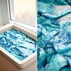 Bleach-dye fabric: 2 parts water + 1 part bleach, soak for about 15 minutes before putting it through a normal wash/dry cycle. Fabric Painting, Fabric Art, Fabric Design, Fabric Crafts, Bleach Dye Shirts, Tie Dye With Bleach, Diy Heating Pad, How To Dye Fabric, Dyeing Fabric