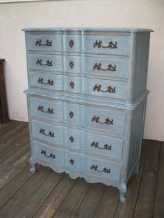 elegant shabby chic blue things | Chic and Shabby Blue Grey Tall Dresser or by VintageRebornLaura