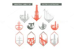 Check out Industrial Lable Set. by Romantic Vintage Flowers on Creative Market