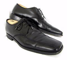Prada Men's Shoes 11 2E Wide Black Leather Derby Oxfords Lace Up Square Toe #PRADA #Oxfords