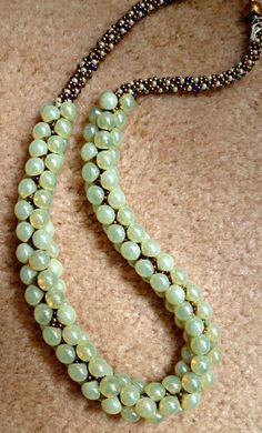 "Beaded Kumihimo ""Lemon Crush"" statement necklace by TheBeckoningCat on Etsy. I really like the colour of those mushroom beads!"