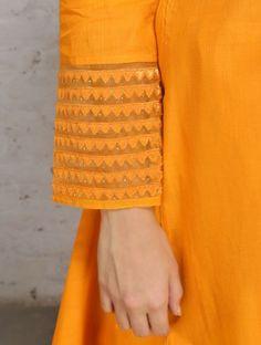 Yellow Zari Embroidered Mangalgiri Cotton Kurta Full Sleeves Design, Kurti Sleeves Design, Kurta Neck Design, Sleeves Designs For Dresses, Sleeve Designs, Simple Kurti Designs, Stylish Dress Designs, Kurta Designs, Blouse Designs