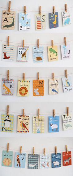Animal alphabet cards for the nursery - educational and also look adorable on the wall! @cuckoolandcom #dreamnursery