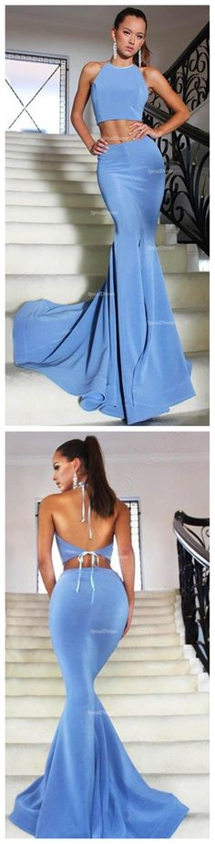 Sexy Blue Two Pieces Mermaid Evening Prom Dresses, Popular 2018 Party Prom Dresses, Custom Long Prom Dresses, Cheap Formal Prom Dresses, 17205
