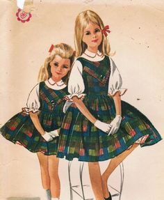 1960s McCall's 6458 Vintage Sewing Pattern Girls' Jumper with Petticoat and Blouse Size 8