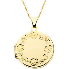"""Sterling Silver or 14K Yellow Gold Polished 23.53x21.35 MM Round Locket on an 18"""" Rope Chain"""