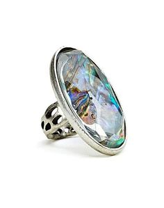 Pave Abalone Ring by Lucky Brand Scarf Jewelry, Jewelry Box, Jewelery, Jewelry Accessories, Jewelry Necklaces, Artisan Jewelry, Antique Jewelry, Handmade Jewelry, Lucky Brand Jewelry