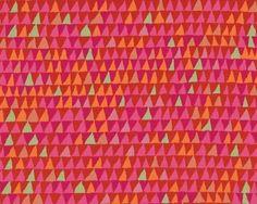 """Patchworkstoff+\""""Tents\""""+mit+Zacken-Streifen,+orangerot-fuchsia"""