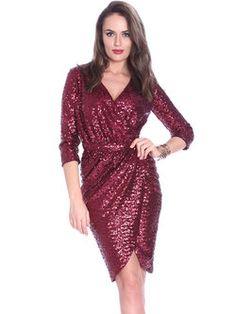 Burgundy Glitter-finished 3/4 Sleeve Sheath Plain Wrap Dress