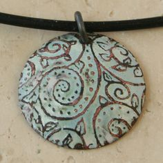 Acid Etched Copper Kiln Fired Enamel Necklace by tekaandzoe, $34.00