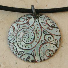Acid Etched Copper Kiln Fired Enamel Necklace by tekaandzoe, $34.00