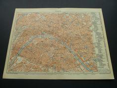 Old map of Paris 1906 antique German city plan by DecorativePrints, €13.95