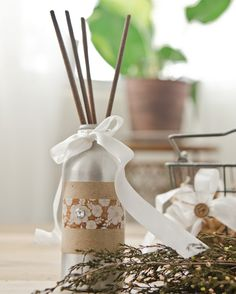 A bottle, fragrance oil, diffuser reeds, and decorations are all you need to make a quick and easy diffuser gift, like L. Katherine Roberts' inside Willow and Sage. Willow And Sage, Chemical Free Makeup, Recycled Art, Repurposed, Subscription Gifts, Green Craft, Smudge Sticks, Unique Recipes, Fragrance Oil