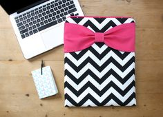 Stylish MacBook Pro / Air Case / Laptop Sleeve - Black Chevron Hot Pink Bow by AlmquistDesignStudio on Etsy