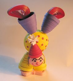 clown standing on hands designed and made by Cathy Schlim.
