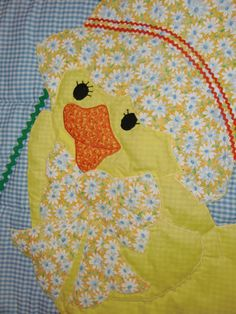 Handmade Baby Quilts Little Yellow Daisy Duck by QuiltsbyHelen