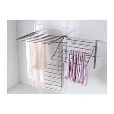 For laundry room IKEA GRUNDTAL drying rack, wall Adjustable to 3 positions. Simple to fold up when not in use. Laundry Room Drying Rack, Drying Rack Laundry, Clothes Drying Racks, Laundry Closet, Laundry Room Organization, Laundry Storage, Small Laundry, Laundry Room Design, Home Furniture